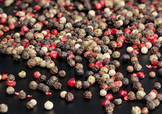 Red, black, green and white peppercorns Stock Photo