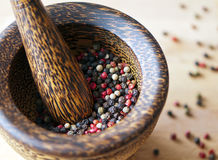 Red, black, green and white peppercorns Royalty Free Stock Image