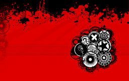 Red and Black Grunge Background. A unique grunge vector background image with splatters and grunge discs in a standard widescreen display format perfect as a web Stock Photos