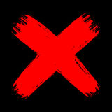 Red on black grunge brush stroke cross no decline aggressive. Vector grunge vintage brush stroke no decline sign. Red curved cross. Isolated check mark object Stock Photo