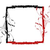 Red black grunge floral frame Stock Photography