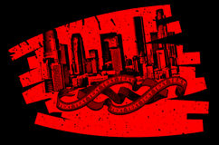 Red Black Grunge Graffiti Banner. Vector Illustration Royalty Free Stock Image