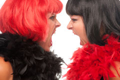 Red and Black Haired Women Screaming at Each Other Stock Photos