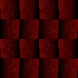 Red and black halftone square design with optical spatial effect, background in opart style. Optical art wallpaper. Stock Image