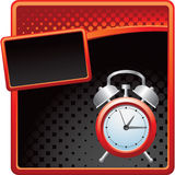 Red and black halftone template with alarm clock Stock Image