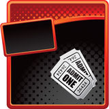 Red and black halftone template with tickets Stock Photo