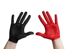 Red and black hand stock images