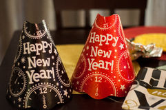 Red and Black Happy New Year Party Hats Stock Photography