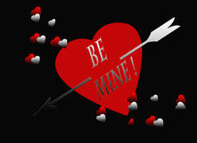 Red Black Heart Silver Arrow Be Mine Card Royalty Free Stock Photo