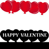 Red and black hearts balloon with text on white background Royalty Free Stock Images