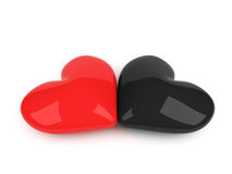 Red and black hearts lying over white Royalty Free Stock Photo