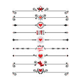 Red and black hearts and Valentine dividers icons set on white background. Red and black modern retro hearts and Valentine dividers icons set on white background Royalty Free Stock Images