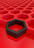 Red and black hexagon Royalty Free Stock Image