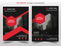 Red black hexagon Vector annual report Leaflet Brochure Flyer template design, book cover layout design, abstract presentation. Red black hexagon Vector annual royalty free illustration