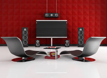 Red and black home cinema. Home cinema room with red acoustic panel - rendering Stock Photography