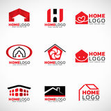 Red and black Home logo vector set design Royalty Free Stock Images