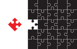 Red and black jigsaw Stock Photos