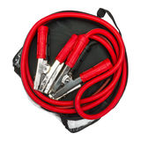 Red and black jumper cables in bag Stock Image