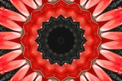 Red black Kaleidoscope pattern abstract background. Circle pattern. Abstract fractal kaleidoscope background. Abstract fractal pat Stock Photography