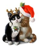 Red and black kittens in carnival costumes. Watercolor painting stock photo