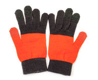 Red-black knitted gloves Royalty Free Stock Images