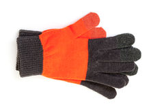 Red-black knitted gloves Stock Photography