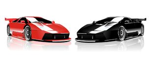Red and Black Lamborghini. Face to face in white shinny floor Stock Illustration