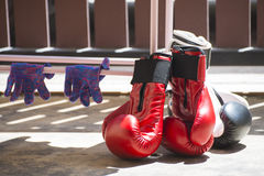 Red and black leather boxing gloves. Muay-thai Stock Images