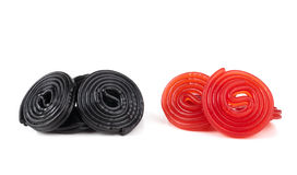 Red and black licorice wheels Royalty Free Stock Photos
