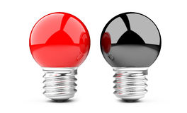 Red and black light bulb Stock Photo