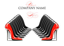 red and black lined shoes Royalty Free Stock Images