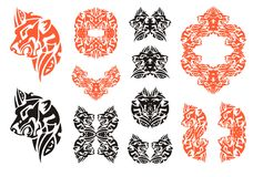 Red and black lion head symbols in tribal style Royalty Free Stock Photography