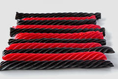 Red and Black liquorice candy bars Stock Photo