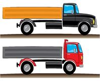 Red and black lorries Stock Image