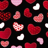 Red and Black Love Valentin's Day Seamless Pattern Stock Image