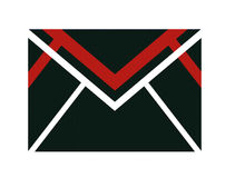 Red and black mail icon. A letter or mail icon with black color and red stripes Stock Photos