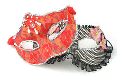 Red and black mask. Venetian red and black mask on white background Royalty Free Stock Photos