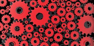 Red and black mechanical 3D manufacturing, metal gears cog cogs black background. Work Stock Photos