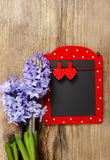 Red and black memo board with clothes pegs in heart shape. Lush hyacinth flowers. Remember: Valentines day is coming Royalty Free Stock Images