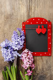 Red and black memo board with clothes pegs in heart shape. Lush hyacinth flowers. Remember: Valentines day is coming Stock Photos