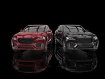 Red and black modern SUVs Stock Photography
