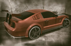Red And Black Mustang Sports Car Backside. Red and black supercharged Mustang sports car from its backside parked inside of an old factory. High quality vintage royalty free illustration