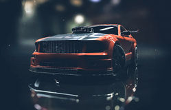 Red And Black Mustang Sports Car Royalty Free Stock Image