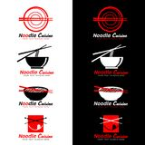 Red and black Noodle cuisine logo with chopsticks and Noodle Soup vector design Stock Photos