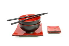Red and black oriental table set isolated Stock Photo