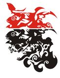 Red and black ornate tribal fishes, vector Stock Photo