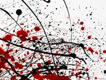 Red and black Paint Drips on White background. Splashes of black and red paint similar to blood. expressionism. copy space royalty free illustration