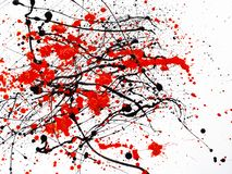 Red and black Paint Drips on White background. Expressionism vector illustration