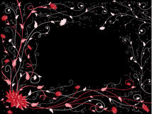 Red-black pattern. Red and pink flowers and branches on black background Royalty Free Stock Photos