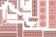 Red and Black Patterns for Embroidery Stitch Stock Photography